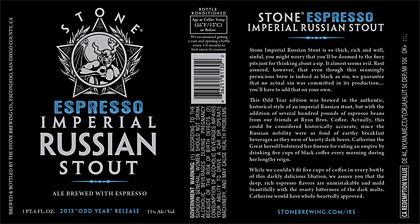 Stone Espresso Imperial Russian Stout label