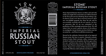 Stone Imperial Russian Stout label