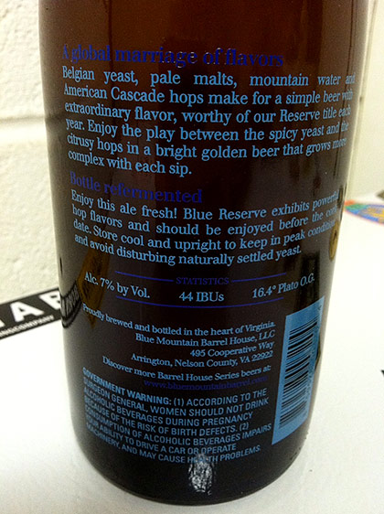 Blue Mountain Brewery Blue Reserve photo