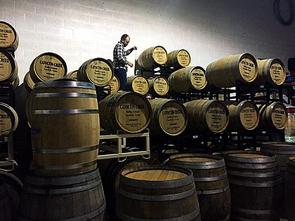 Heritage Brewing barrel room photo