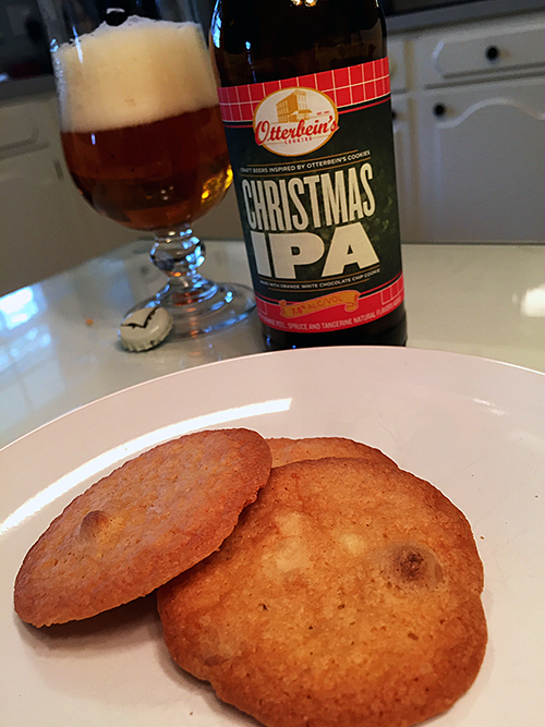 Flying Dog Christmas IPA and White Chocolate Chip Cookies